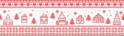 Scandinavian Christmas pattern including Nordic Christmas scenery  Winter Village : Church , house, cottages, town hall in cross stitch with heart, snowflake, snow, Christmas  tree, forest, ornaments
