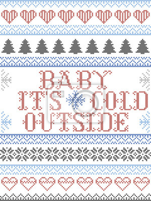 Scandinavian Christmas pattern inspired by Baby its cold outside  carol festive elements  in cross stitch with heart, snowflake, Christmas tree, star, snowflakes in red, blue, white