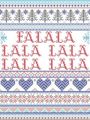 Scandinavian Christmas pattern inspired by Fala lala lalalallala carol festive elements  in cross stitch with heart, snowflake, Christmas tree, star, snowflakes in red, blue, white