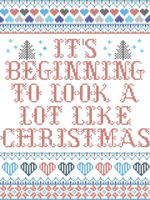 Scandinavian Christmas pattern inspired by Its beginning to look a lot like Christmas everyday carol festive elements  in cross stitch with heart, snowflake, Christmas tree, star, snowflakes in colour