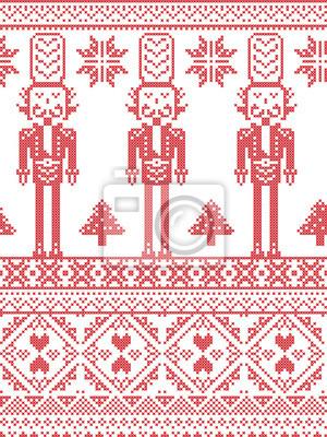 Scandinavian Printed Textile style et inspiré par Norvégien Noël et fête d'hiver modèle sans couture en point de croix avec des arbres de Noël, flocons de neige, Casse-Noisette Soldat ornements cœurs