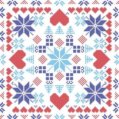 Papiers peints Scandinavian style nordique hiver rouge commutateur, tricot seamless pattern dans la forme carrée, y compris les flocons de neige, cadeaux de Noël, arbres de Noël, coeurs et éléments décoratifs en rou