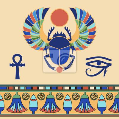 Scarabée. Icônes égyptiennes. Illustration vectorielle