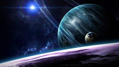 Papiers peints Scène d'univers avec des planètes, des étoiles et des galaxies dans l'espace extra-atmosphérique montrant la beauté de l'exploration spatiale. Éléments fournis par la NASA