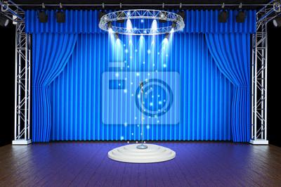 Scène de théâtre avec des rideaux bleus et projecteurs papier peint ...