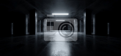 Papiers peints Sci Fi Modern Dark Concrete Cement Asphalt Futuristic Spaceship Elegant Underground Garage Tunnel Corridor Empty Space White Glow Glossy Columns 3D Rendering