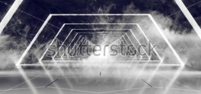 Papiers peints Sci Fi Moderne Futuriste Sombre Vide Fumée Et Le Brouillard Corridor De Tunnel Alien En Faience En Carrelage Avec Une Lueur Blanche Surface Réfléchissante Fond Élégant Illustration De Rendu 3D