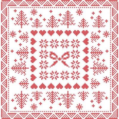 Papiers peints Scintillant, style, nordique, hiver, point, tricoter, seamless, modèle, carrée, carreau, FORME, inclure, flocons neige, arc, noël, arbre, noël, flocons neige