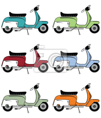 Scooters Vintage Icons Set