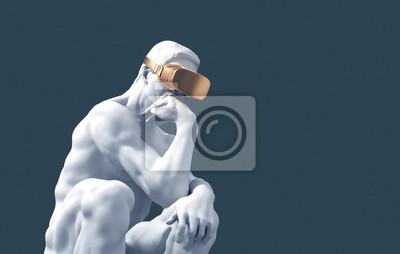 Papiers peints Sculpture Thinker With Golden VR Glasses On Blue Background