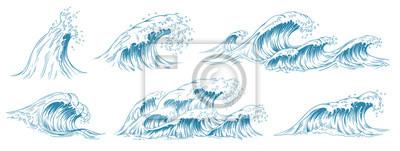 Papiers peints Sea waves sketch. Storm wave, vintage tide and ocean beach storms hand drawn vector illustration set