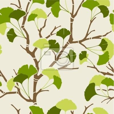 seamless, avec des feuilles de ginkgo vertes