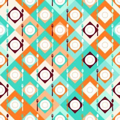 Papiers peints Seamless avec des fourchettes, cuillères et assiettes dans le style rétro.