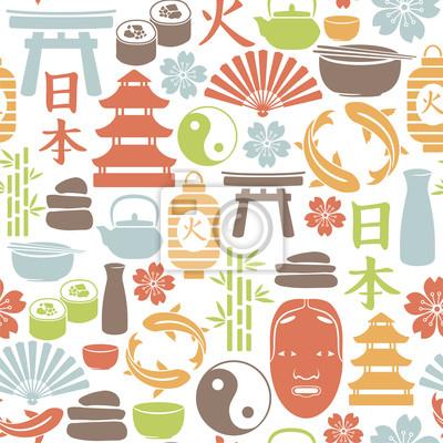 seamless, avec des icônes asiatique