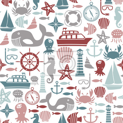 seamless, avec des icônes de la mer