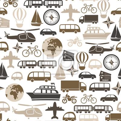 seamless, avec des icônes de transport