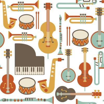 seamless, avec des instruments de jazz. isolé sur blanc