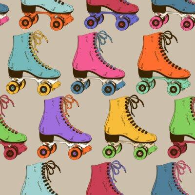 Papiers peints Seamless avec des patins à roulettes rétro