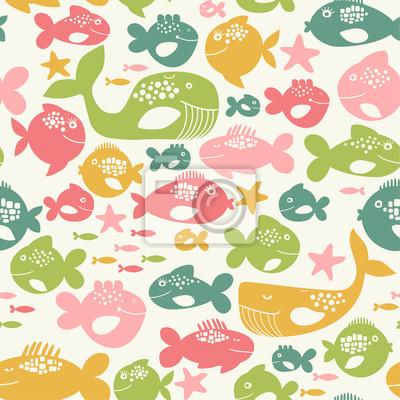 seamless, avec des poissons colorés