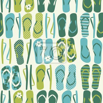 Seamless avec des tongs en vert et bleu.