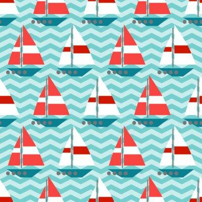 Papiers peints Seamless avec des voiliers sur les ondes