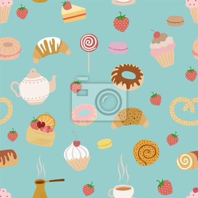 seamless, avec différents types de pâtisseries sur fond bleu