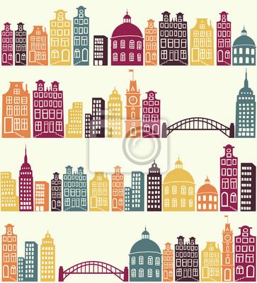 seamless avec la silhouette de la ville