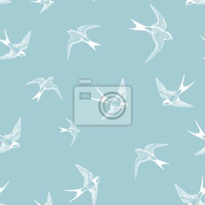 seamless bleu avec petites hirondelles blanches