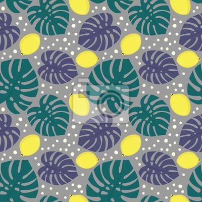 Seamless Decoratif Modele Citrons Paume Feuilles Gris Papier