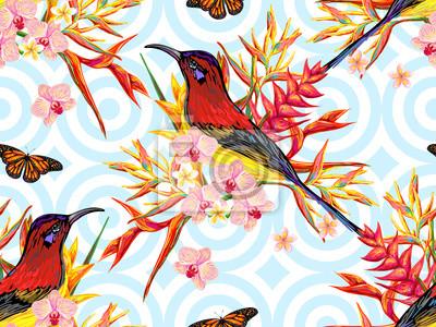 Seamless Ete Tropical Modele Oiseaux Papillons Exotique