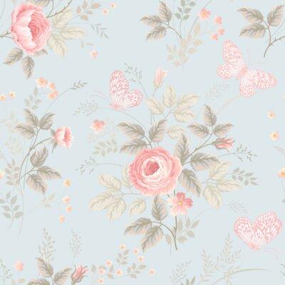 Papiers peints Seamless, floral, modèle, roses, papillons