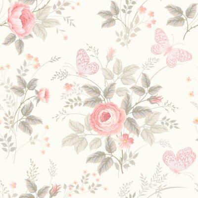Papiers peints seamless floral pattern avec des roses aux couleurs pastel