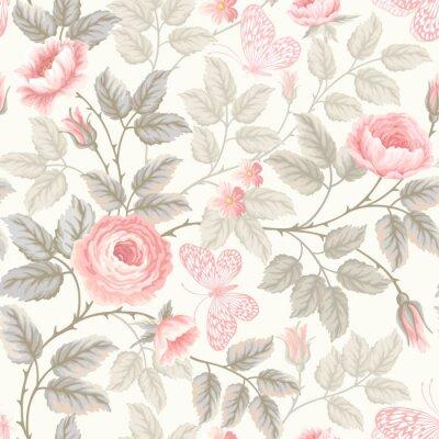 Papiers peints seamless floral pattern avec des roses et des papillons