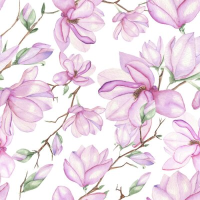 Papiers peints Seamless floral pattern de magnolias peints à l'aquarelle sur fond blanc
