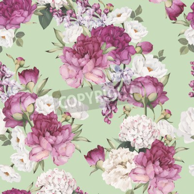 Papiers peints Seamless floral pattern with peonies. Vector