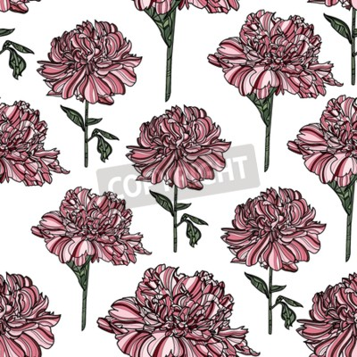 Papiers peints Seamless floral pattern with peony on white background.  Vector illustration. Typography design elements for prints, cards, posters, products packaging, branding.