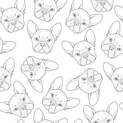 Papiers peints Seamless fond avec mignon bulldog sketch. Chien réaliste fait à la main. Coloriage monochrome avec bouledogue. Impression sur textile. Chiens de race. Seamless, fond, chien, imprimé, matériel