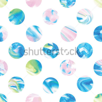 Papiers peints Seamless marble polka dot pattern. Abstract watercolor shapes in rainbow.