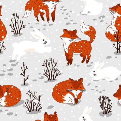 Papiers peints Seamless modèle avec des renards mignons et lapin. Illustration d'hiver