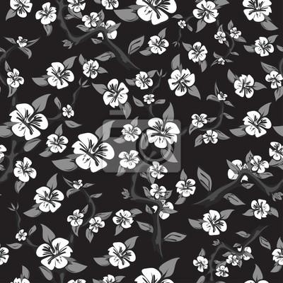 Seamless Modele Blanc Fleurs Noir Fond Resume Pommier Papier