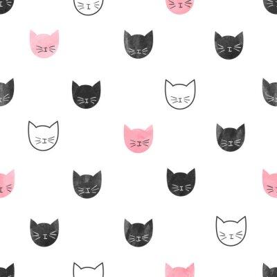 Papiers peints Seamless modèle de chats mignons. Vecteur, fond, aquarelle, chat, têtes