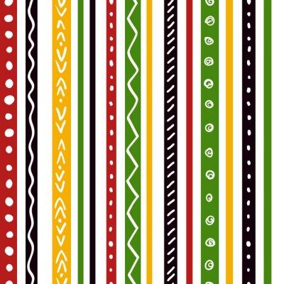 Papiers peints Seamless modèle ethnique avec des rayures de couleur verte, jaune, rouge. Répétez les bandes droites texture de fond, vecteur.
