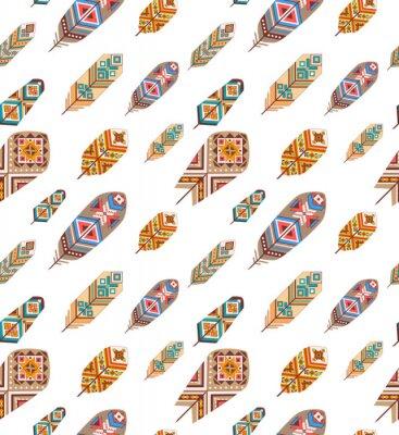 Papiers peints Seamless, modèle, ethnique, plumes