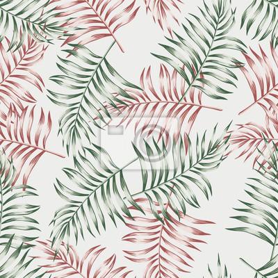 Seamless Modele Papier Peint Exotique Tropical Paume Feuilles