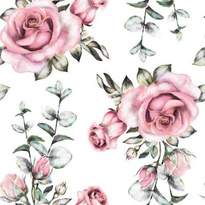 Papiers peints Seamless, modèle, rose, fleurs, feuilles, blanc, fond,  aquarelle,