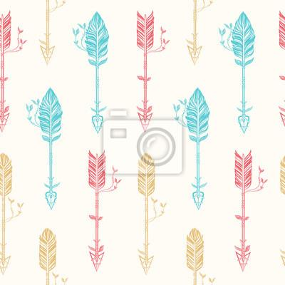Seamless, modèle, tribal, flèches Main, dessiné, vecteur, Illustration