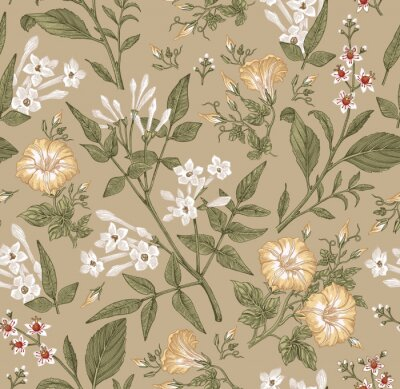 Papiers peints Seamless pattern. Beautiful fabric blooming realistic isolated flowers. Vintage background. Set Jasmine Petunia Croton wildflowers. Wallpaper baroque. Drawing engraving. Vector victorian illustration