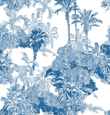 Papiers peints Seamless Pattern Blue and White Cobalt Tropical Jungles with Palms and Mountains, Blue Rainforest Toile Print, Tropical Engraving Illustration Wallpaper Mural, Classic Hand Drawn Landscape Design