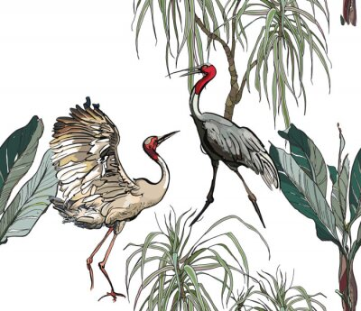 Papiers peints Seamless Pattern Dancing Cranes in Jungle with Dragon Trees and Palms on White Background