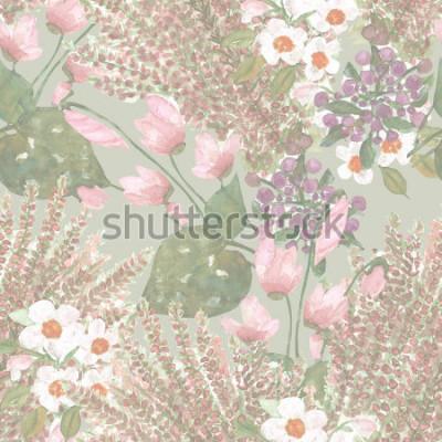 Papiers peints Seamless pattern de fleurs